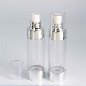 High Quality Pastic Clear Airless Bottle With Silver Lotion Pump
