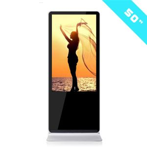 Programmable Lobby 50inch Floor Stand LCD Touch Screen Advertising Display With Remote Control