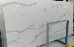 Popular Calacatta Faux Stone Slabs Quartz Jumbo Size Slabs