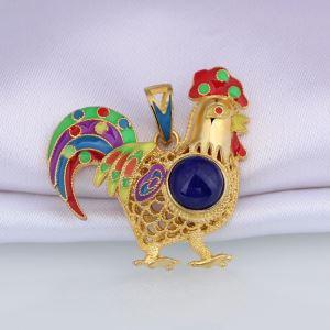 Lazuli Gemstone Drusy Chicken Shape Pendant