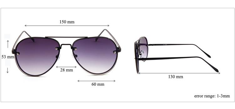 Cat.3 UV400 Sunglasses Gradient Lens Copper Frame Outdoors Sports Shades Pilot