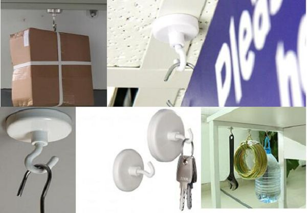 Neodymium White Magnetic Ceiling Hooks Magnets