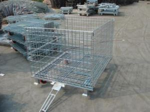 Folding Storage Cage with Traction and Casters for Transport Product Easily
