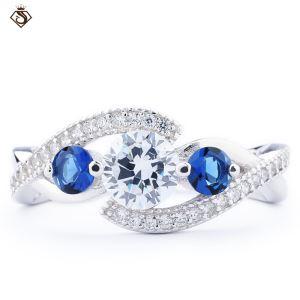 Blue Stone Platinum 5925 Silver Ring Diamond