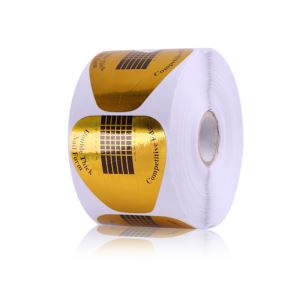 Golden Paper Nail Art Tips Extension Form Horse Shoe Shape Double Thick Professional 500pcs/roll