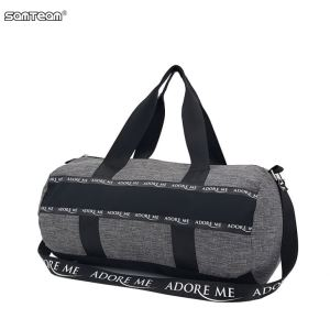 Round Duffle Gym Sports bag in Light Fabric with printed Nylon Webbing Reinfored