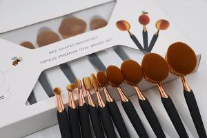 10pcs Synthetic Oval Makeup Brush Set