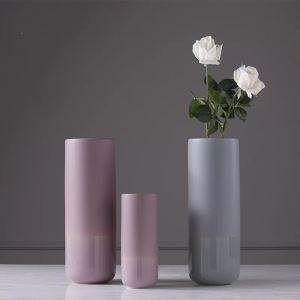 Straight Cylinder Dark Pink Matte Ceramic Vase