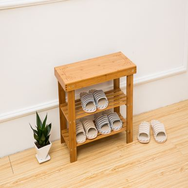 Bamboo Shoe Bench with 2-tiers